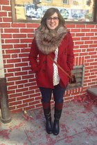 black Sole Society boots - red Gap coat - navy Levis jeans - camel Target scarf