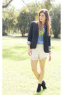 Black-vintage-blazer-blue-sportsgirl-shirt-ivory-cotton-on-shorts