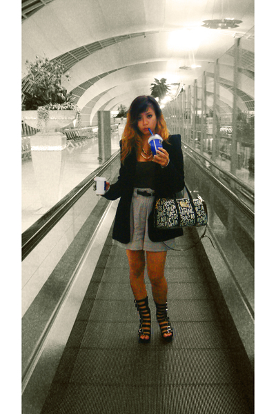 black nastygal blazer - Jeffery Campbell shoes - Marc by Marc Jacobs purse