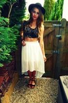white Miss Selfridge skirt - brown Mink Pink top - black Miss Selfridge sandals