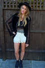 Office-boots-black-nasty-gal-hat-topshop-shorts-vintage-cardigan-white-m