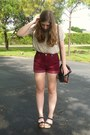 Ivory-urban-outfitters-shirt-crimson-high-waisted-thrifted-shorts