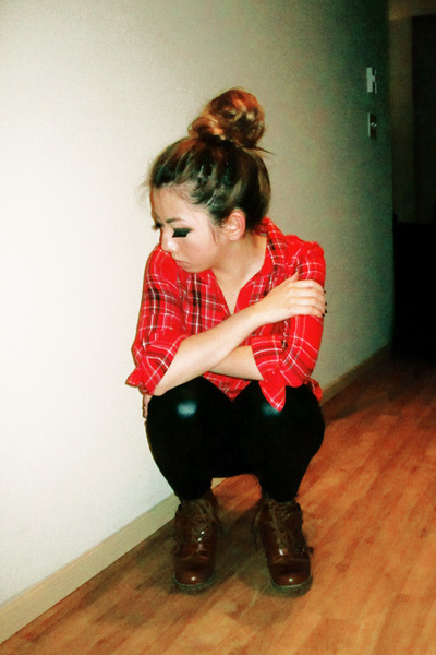 red Marshalls shirt - black httpwwwizzuecom leggings - Urban Outfitters boots