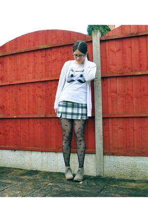 new look skirt - asos boots - asos tights - Matalan cardigan