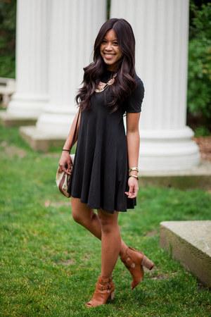 black cotton Zara dress - leather Nordstrom heels
