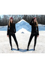 Black-faux-leather-h-m-boots-denim-stradivarius-jeans-knitted-h-m-hat