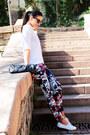 Colorful-zara-pants-white-white-lacoste-sneakers-white-linen-mango-blouse