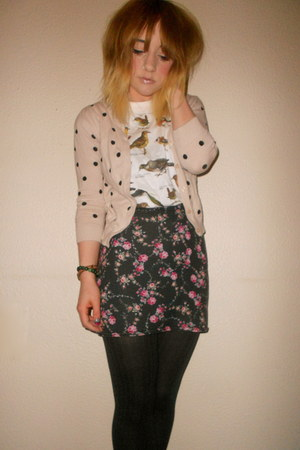 Primark cardigan -  tights - Primark skirt - Topshop t-shirt