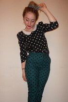 polka dot Topshop pants - Primark top - bow Alice Takes A Trip accessories