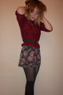 Navy-buckle-vintage-belt-floral-topshop-dress-primark-tights