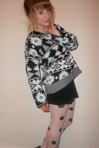 aztec print TKmaxx jumper - black Topshop dress - polka dot Primark tights