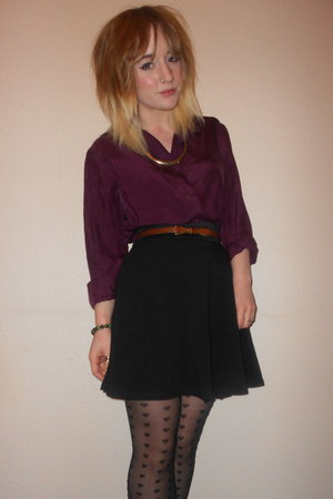 Topshop tights - vintage shirt - Miss Selfridge skirt - Topshop necklace