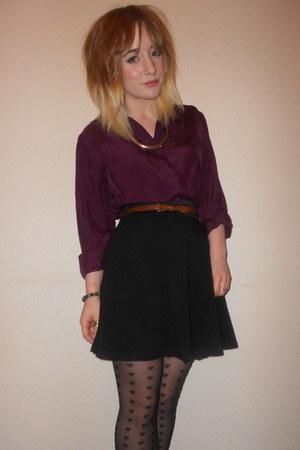 Topshop tights - vintage shirt - Miss Selfridge skirt - Topshop necklace