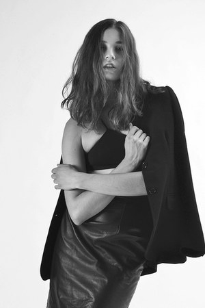 Barneys New York blazer - Helmut Lang bra - leather vintage skirt