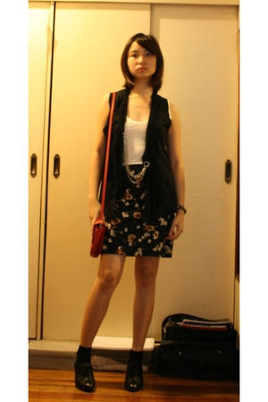 Zara top - Vintage from Mom skirt - DIY vest - purse - naturalizer boots - brace