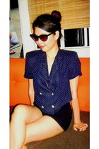 black high-waisted Oxygen shorts - Forever 21 sunglasses - navy padded  cropped