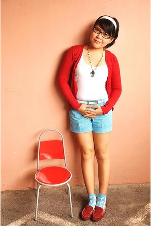 sky blue striped BCBL shorts - white Zara top - ruby red Mango cardigan - brick