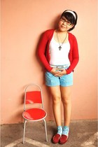sky blue striped BCBL shorts - white Zara top - ruby red Mango cardigan - brick