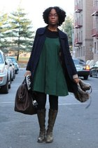 blue acne coat - green Old Navy dress - green Frye boots - brown Burberry purse