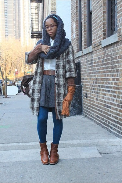 brown Walter coat - gray H&M scarf - white DKNY dress - gray calvin klein skirt