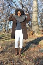 brown joseph coat - brown Ralph Lauren cardigan - blue RVCA shirt - white earnes