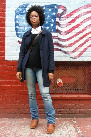 acne jacket - sweater - shirt - Earnest Sewn jeans - Frye boots - Burberry purse