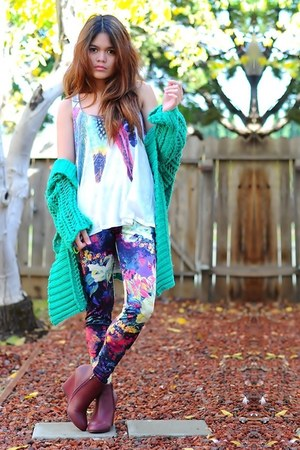 deep purple floral print romwe leggings - white Forever 21 top