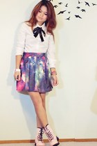 deep purple galaxy OASAP skirt - bubble gum combat boots wholesale boots