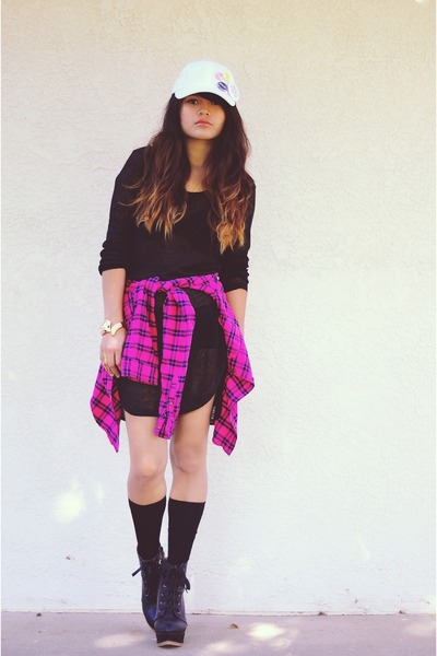 black high low OASAP sweater - hot pink plaid hollister shirt