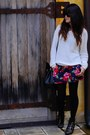 Navy-floral-skirt-hollister-skirt-white-cable-knit-forever-21-sweater