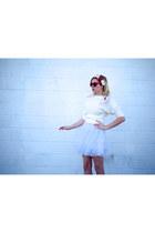 white tulle snidel dress - white wool vintage sweater