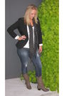Black-blazer-gray-boots-black-scarf