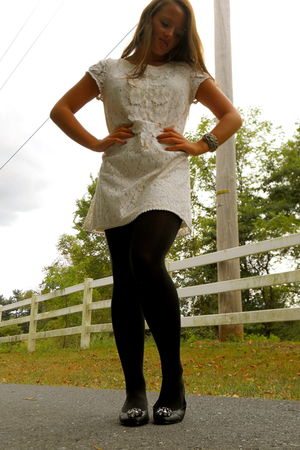 white Francescas Collections dress - black Forever 21 tights - black Kelsi Dagge