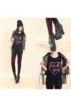 tripp jacket - medina boot boots - black beanie hat - velvet leggings leggings