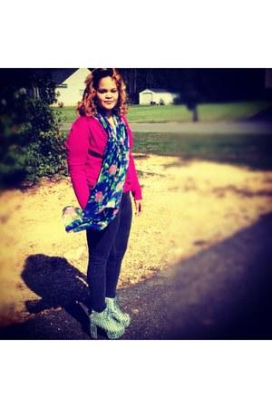 green Jeffrey Campbell heels - leggings - floral scarf - cardigan