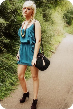 black zandra rhodes bag - black Miss Selfridges boots - teal Love Struck dress
