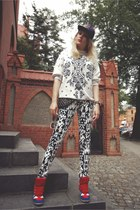 black Primark hat - white vintage blouse - black H&M pants - red Ebay sneakers