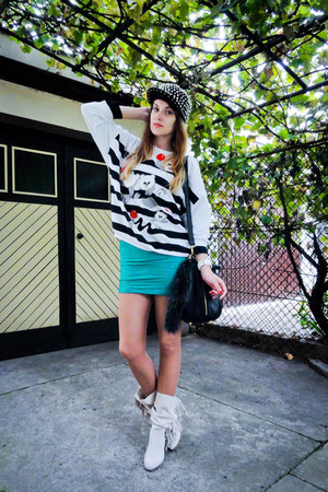silver TheMode hat - ivory Stradivarius boots - turquoise blue no name dress
