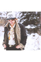 white Hustla hat - dark brown F&F jacket - neutral vintage shirt