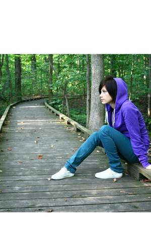 purple flex fleece AmericanApparel sweater - white slip ons Vans shoes