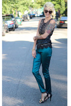 Ann Taylor Loft top - Karen Walker sunglasses - asos belt - Zara heels