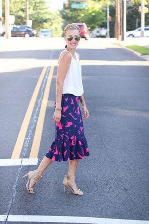 H&M skirt - Michael Kors heels - Target top - Kristin Perry hair accessory