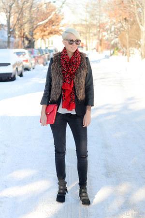 The Limited blazer - sam edelman boots - Zara jeans - Stella & Dot scarf