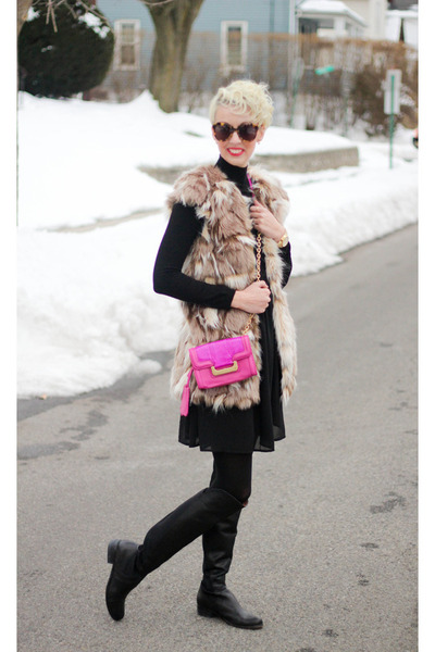 white plum dress - corso como boots - Zara sweater - Diane Von Furstenberg bag