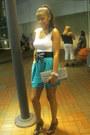 Teal-modcllth-shorts-black-bowed-modcloth-belt-black-chinese-laundry-heels