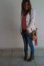 Blue-zara-jeans-white-ann-taylor-blazer-pink-jcrew-sweater-beige-nine-west