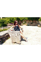 silver metallic DKNY watch - black satin My Time dress - black H&M sunglasses
