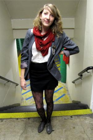 black American Apparel skirt - gray blazer - white blouse - red American Apparel