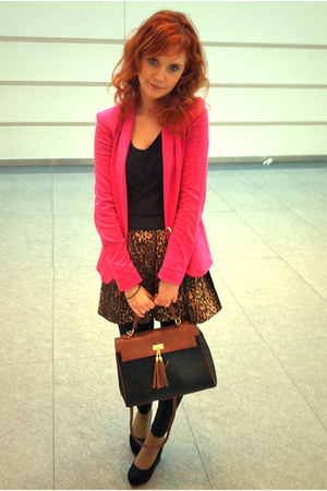 brown leopard print skirt - hot pink Zara blazer - Aldo bag - black H&amp;M wedges