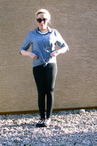 H&M necklace - Forever 21 leggings - denim button-up Modern Amusement top